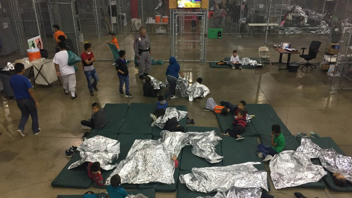 A view of inside US CBP detention facility shows children at Rio Grande Valley Centralized Processing Center in Texas